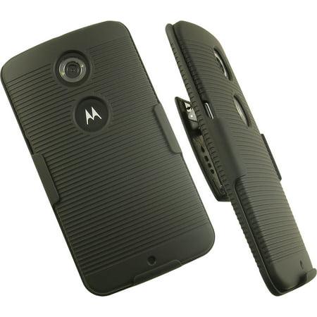 NAKEDCELLPHONE'S BLACK RUBBERIZED HARD CASE COVER + BELT CLIP HOLSTER STAND FOR GOOGLE MOTOROLA NEXUS 6 PHONE (GOOGLE AT&T SPRINT T-MOBILE US CELLULAR VERIZON UNLOCKED) ()