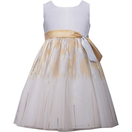 Silver Foil Dress (Little Girls 2T-6X Gold/Ivory Shantung To Foil Stripe Mesh Overlay Dress, 4)