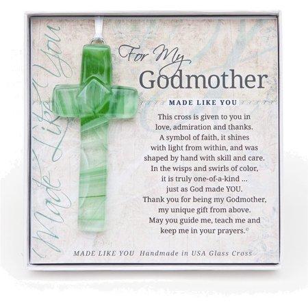 Gm Ribbon - Made Like You Godmother Green Cross w/Ribbon