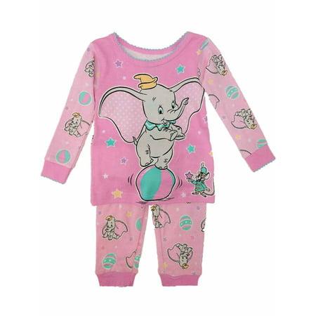 Disney Baby Pajamas (Disney Infant Girls Pink Dumbo & Timothy Pajamas Baby Elephant Sleep)