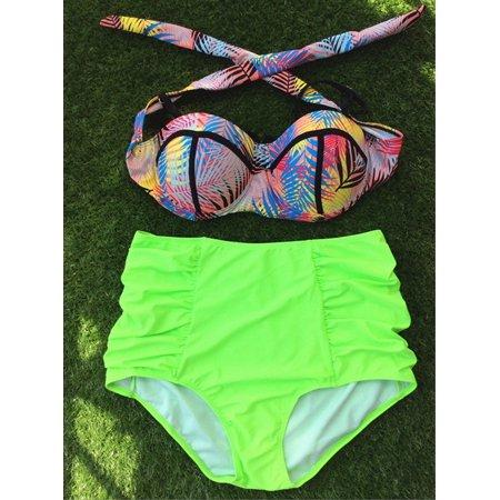 Mioct - Women's Padded High Bottom Plus Size Bikini Set Two