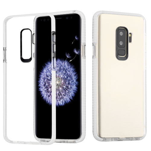 Samsung Galaxy S9 Plus - Phone Case Clear Shockproof Hybrid Bumper Rubber Silicone Gel Cover Transparent Clear - White