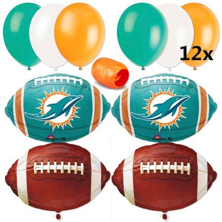 Miami Dolphins Party Decorations (Miami Dolphins NFL Football Party 17pc Balloon Pack, Teal Orange)