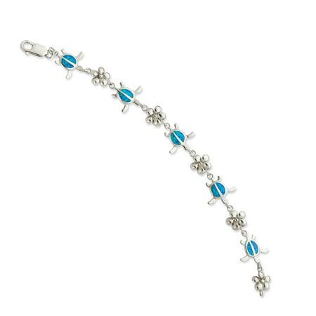 925 Sterling Silver Created Blue Opal Inlay Tortoise Flower Bracelet 7inch Fine Jewelry Valentine's Day Gifts Blue Created Opal Inlay Bracelet