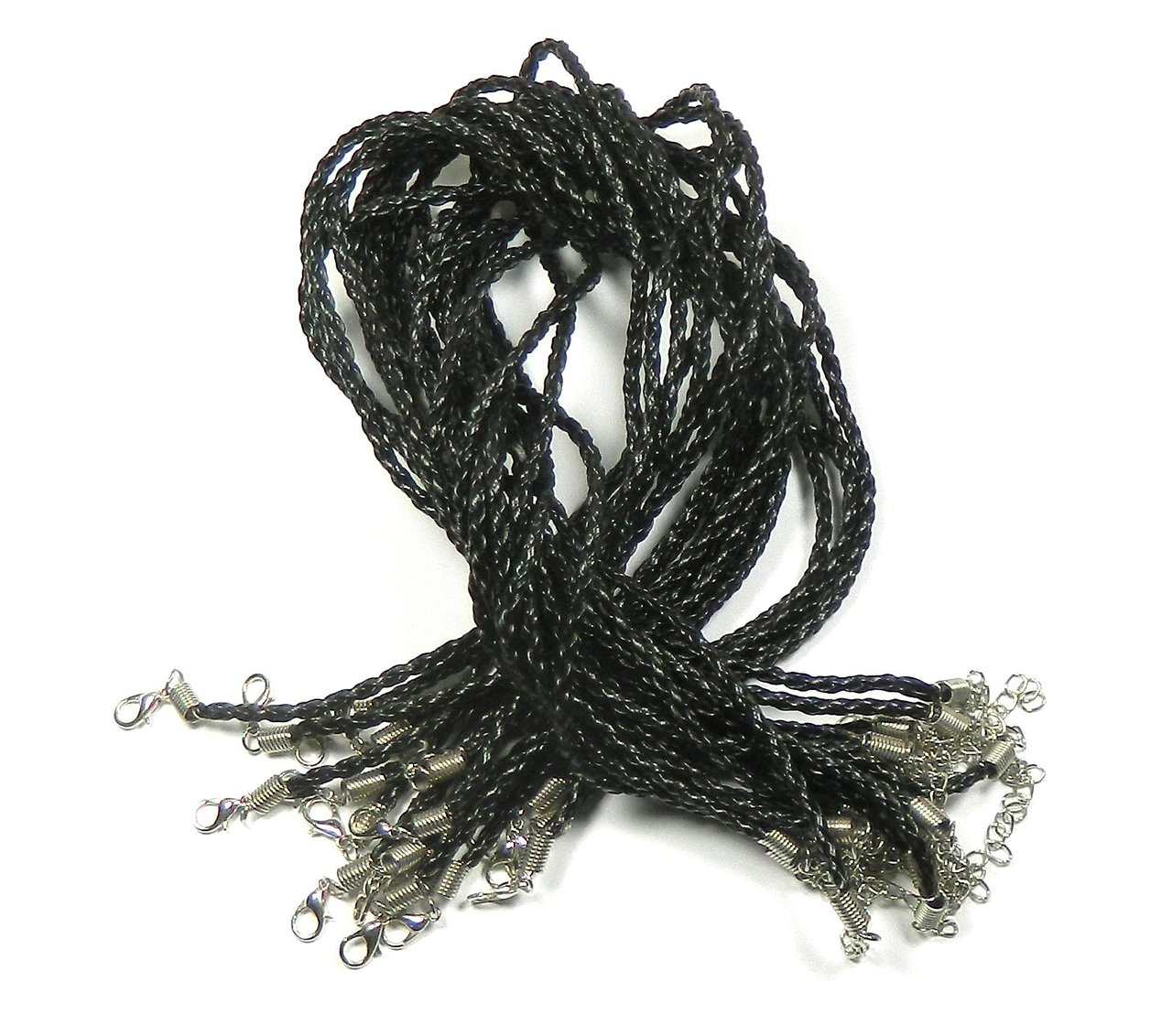 20 Imitation 3mm Leather Cord Necklaces Black Braided 17' Lobster Clasp by
