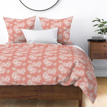 Image of Palm Leaf Leaves Tree Tropical Summer Plants Sateen Duvet Cover by Roostery