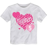 Seattle Mariners Girls Toddler Bubbly Luv T-Shirt - White