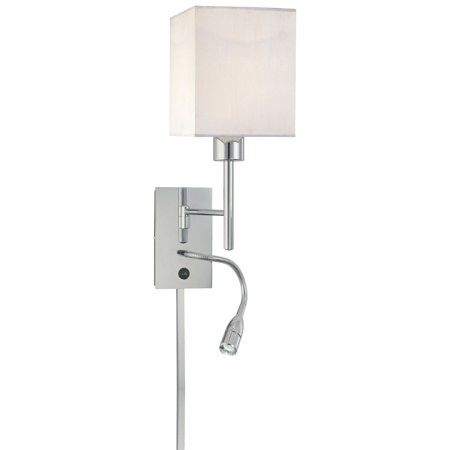 George Kovacs P477-077 1 LIGHT SWING ARM WALL LAMP W/ LED READING LAMP CHROME