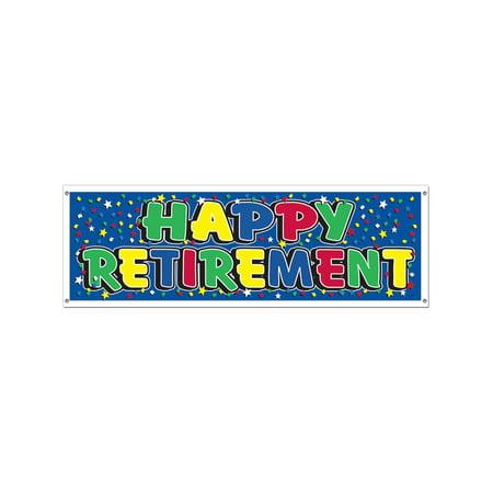 Happy Retirement Celebration Party Confetti Banner Flag - Happy Retirement Sign