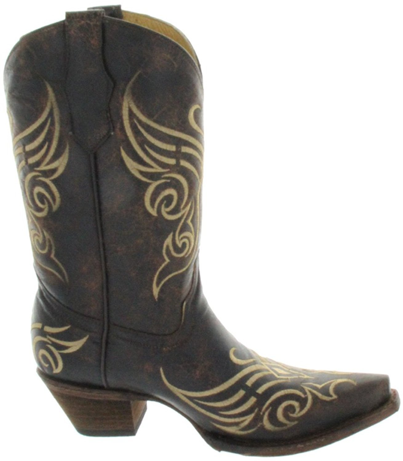 CORRAL Women's L5004 Butterfly Embroidery Brown Western Boots 12 M