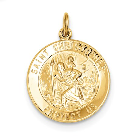 24K Gold Plated 925 Sterling Silver Saint Christopher Medal Necklace Pendant Charm