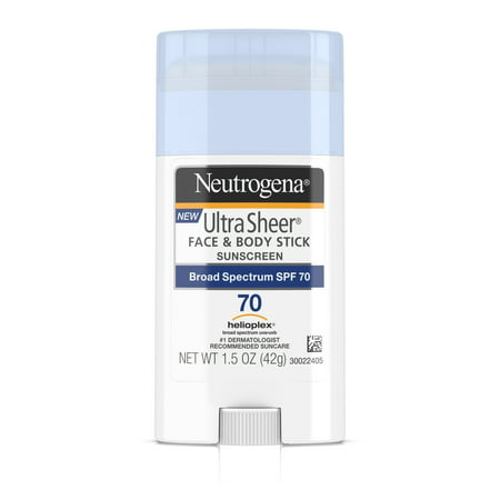 (2 pack) Neutrogena Ultra Sheer Non-Greasy Sunscreen Stick, SPF 70, 1.5 - Non Chemical Sunscreen