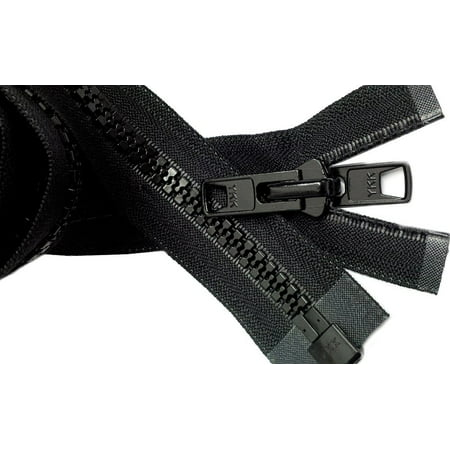 "ZipperStop Wholesale Authorized Distributor YKK® Bimini Boat,Tent,Canvas top, Sleeping bag #10 Black Marine Double Pull Reversible Zipper 44"" inch~"