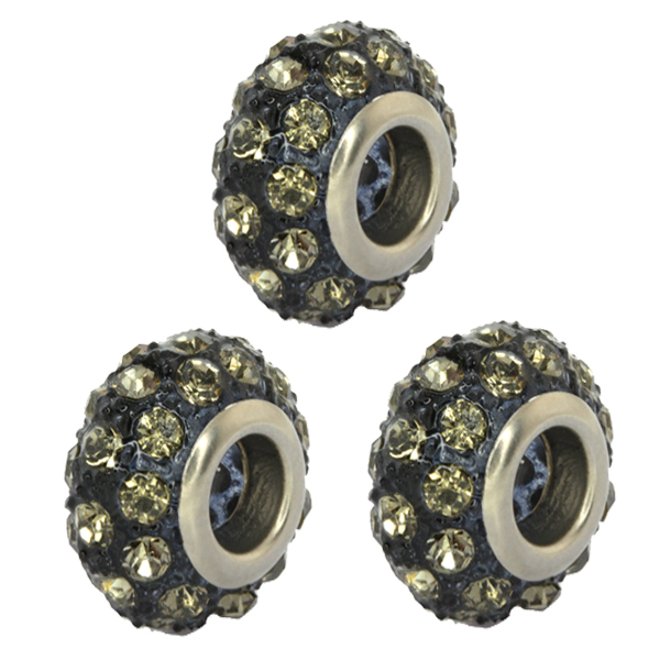 Set of Three 14mm Round Gray Pave Crystal Ball Fits with Beads and Charms