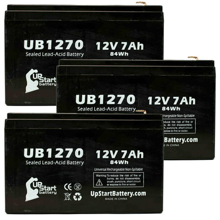 3x Pack - Compatible Saft SP2009 RECORDER Battery - Replacement UB1270 Universal Sealed Lead Acid Battery (12V, 7Ah, 7000mAh, F1 Terminal, AGM, SLA) - Includes 6 F1 to F2 Terminal Adapters