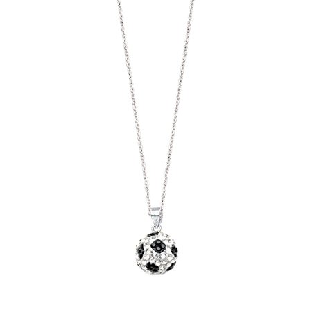 Soccer Ball Necklace Sterling Silver with Sparkling Crystal - 3D - Soccer Jewelry