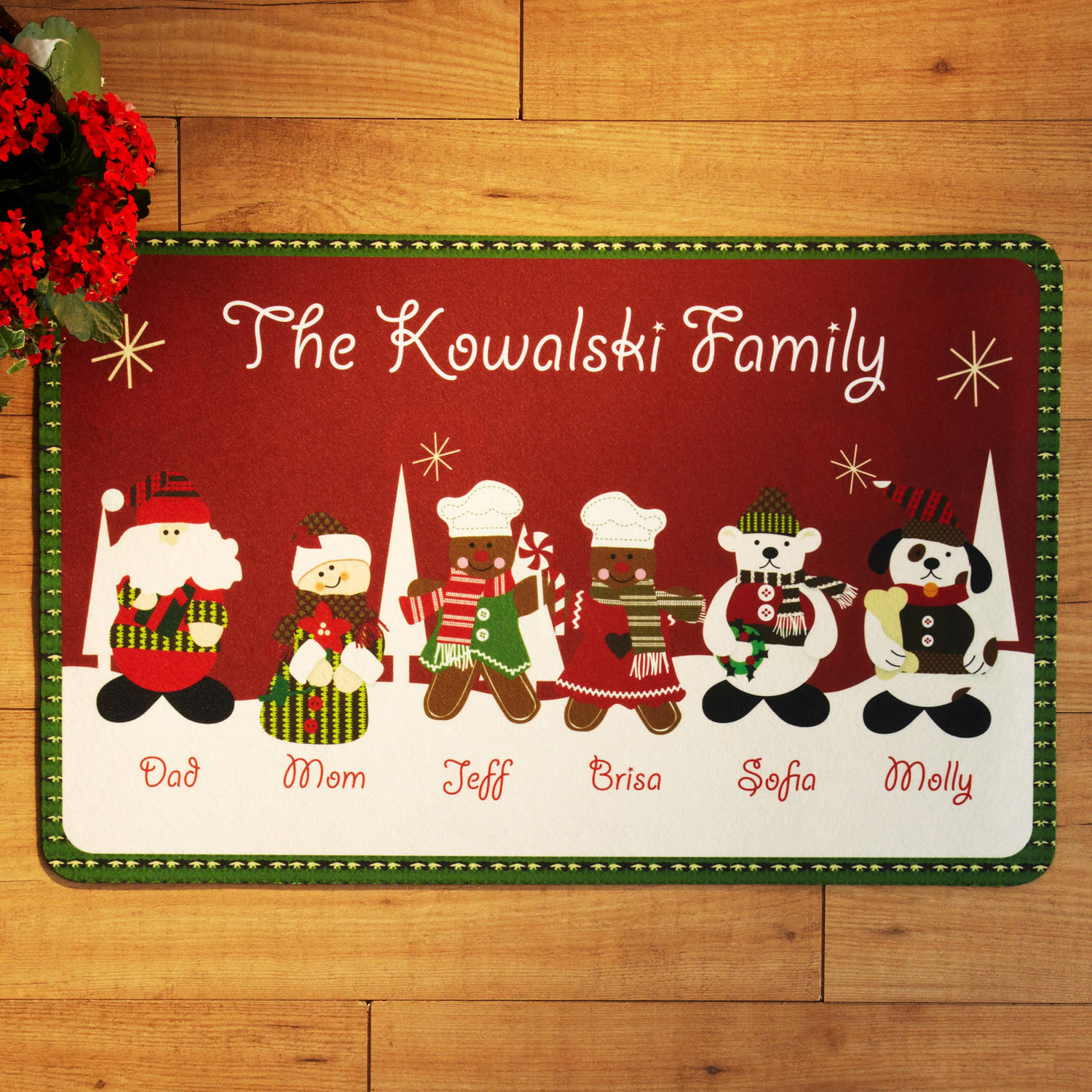 "Personalized Snow Cap Character Doormat, 17"" x 27"""