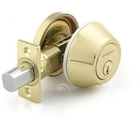 Brass Parthenon Single Cylinder - Brink's Mobile Home Single Cylinder Deadbolt, Polished Brass Finish