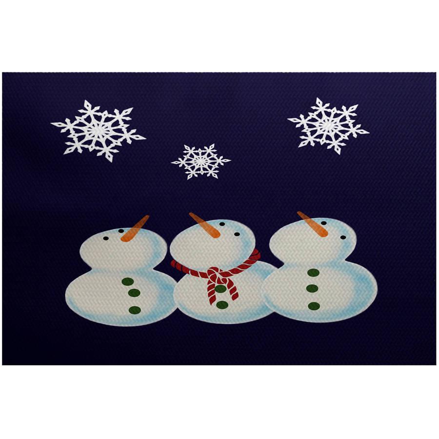 Simply Daisy 2' x 3' 3 Wise Snowmen Geometric Print Indoor Rug