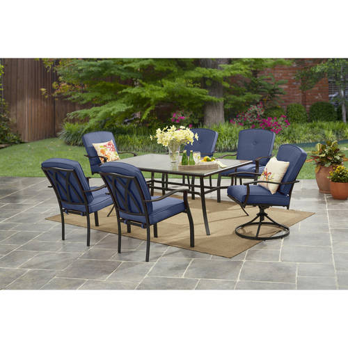 Mainstays Belden Park 7-Piece Dining Set, Blue
