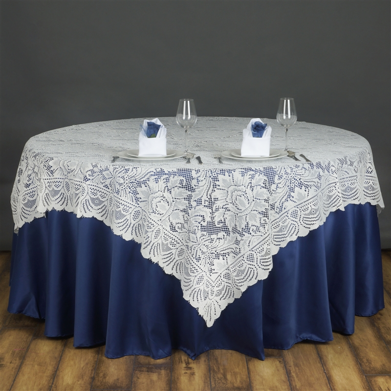 "BalsaCircle 72"" x 72"" Square Lace Table Overlays - Wedding Party Reception Catering Linens Dinner Banquet Event Decorations"