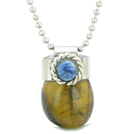 Handcrafted Free Form Tumbled Tiger Eye and Sodalite Cabochon Amulet 22 Inch Pendant Necklace