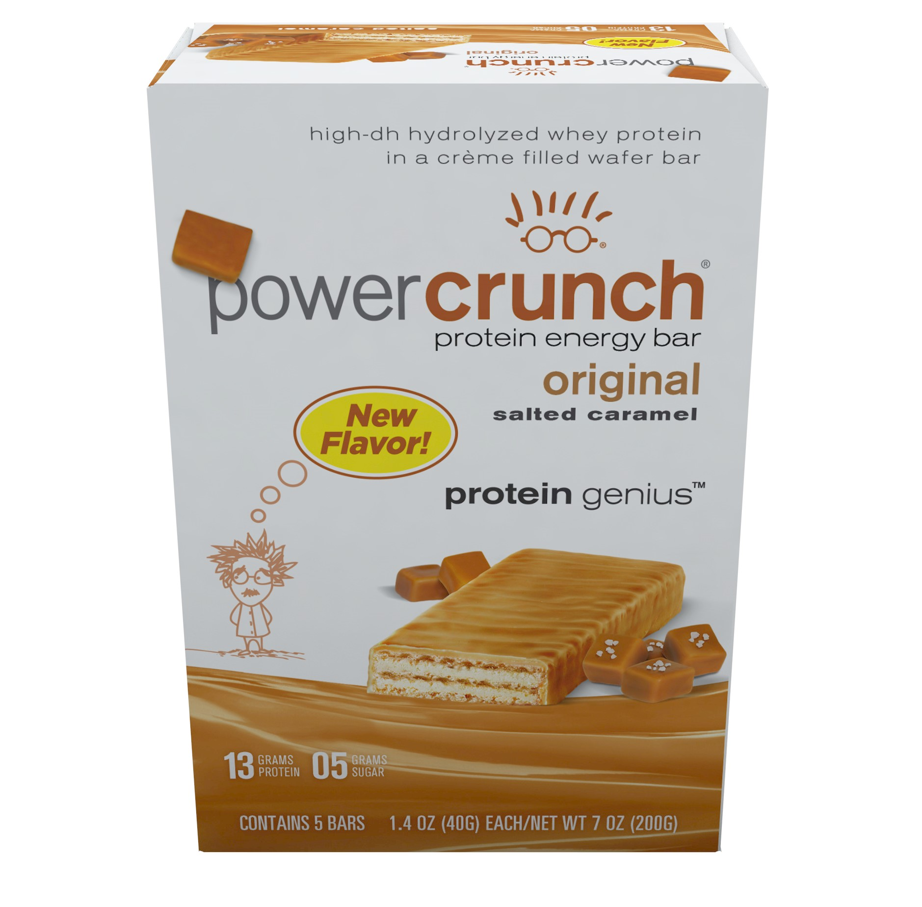 Power Crunch Protein Energy Bar, Salted Caramel, 13g Protein, 5 Ct