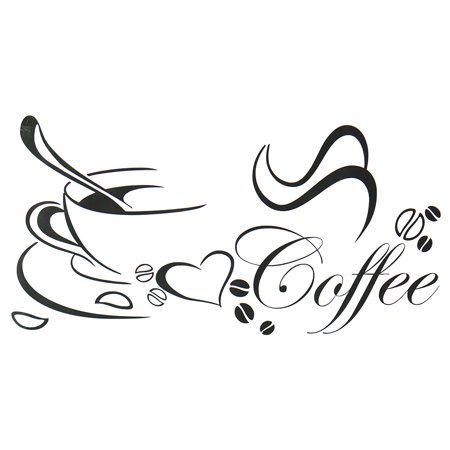 Carved wall sticker coffee cup living room kitchen background decoration](Room Background)