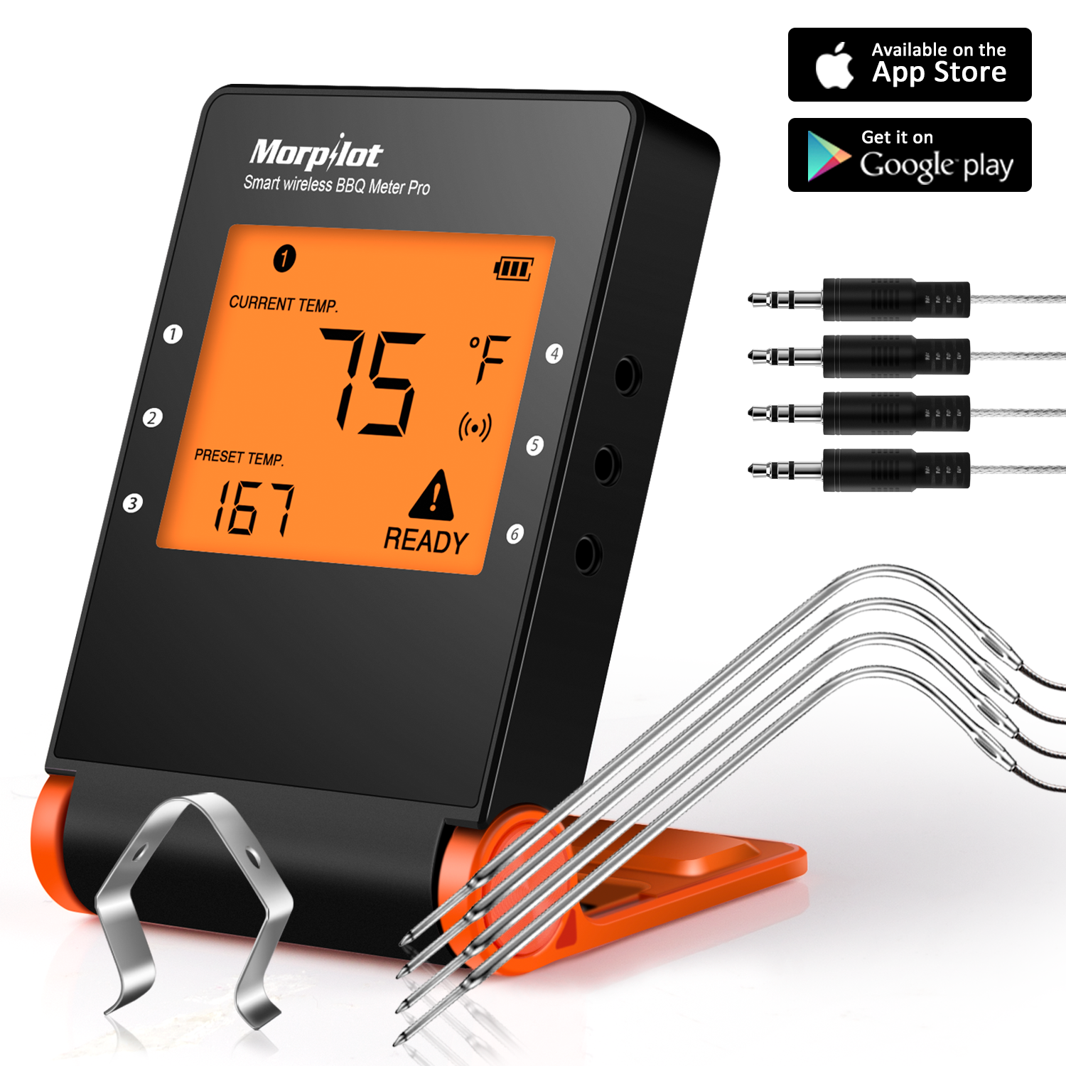 Wireless Meat Thermometers for  Kitchen Cooking BBQ Grill Smoker, Morpilot Bluetooth BBQ Grill Thermometer Smart Remote Digital Cooking Food with 4 Probes for Outdoor Oven Griddle Indoor Kitchen