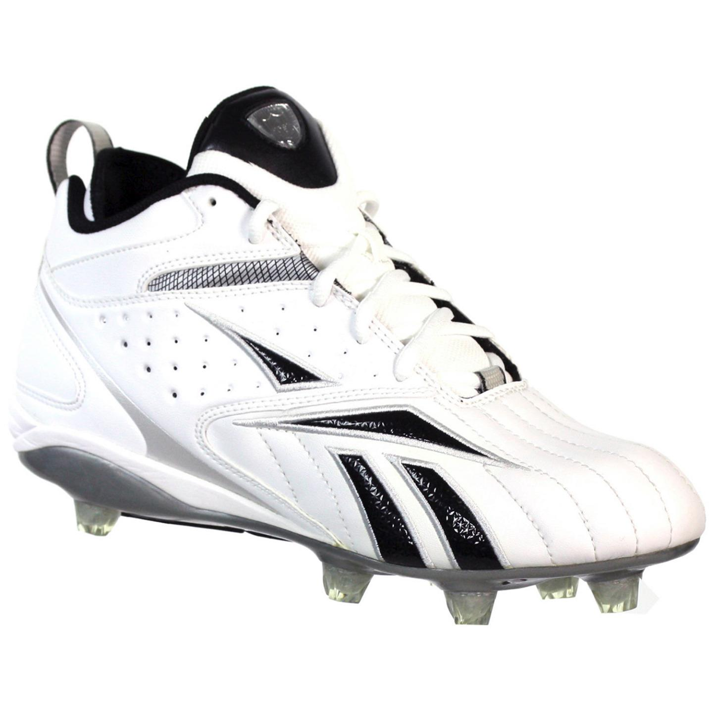 REEBOK NFL FULL BLITZ D KFS MENS FOOTBALL CLEATS WHITE BLACK 12.5