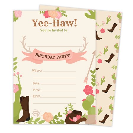 Cowgirl Cow Girl Style 2 Happy Birthday Invitations Invite Cards 25 Count With Envelopes Seal Stickers Boys Girls Kids Party