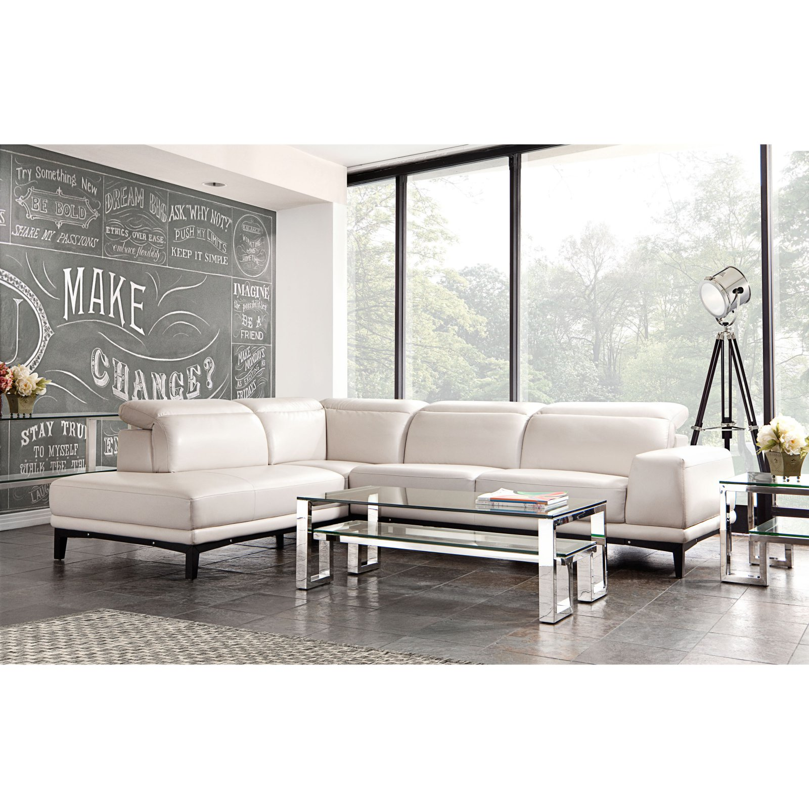 Diamond Sofa Pearl Leather Chaise Sectional with Adjustable Headrests (LF)