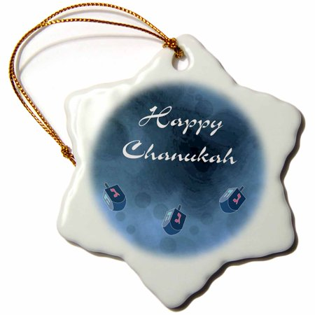 3dRose Print of Happy Chanukah With Dreidels On Bluish Background, Snowflake Ornament, Porcelain, 3-inch