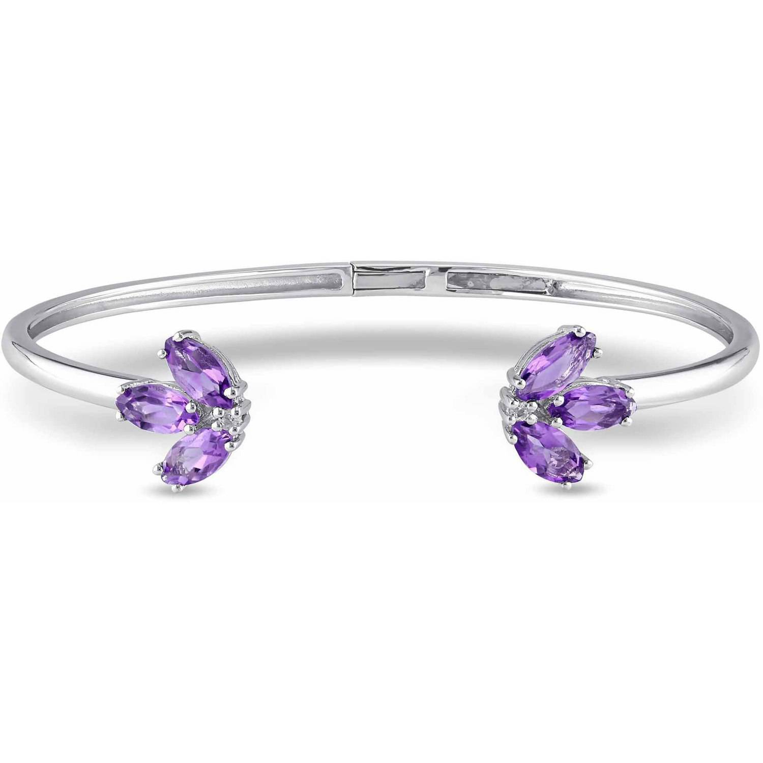 "Tangelo 2 Carat T.G.W. Amethyst and White Topaz Cuff Bangle Sterling Silver Bracelet, 7"" by"
