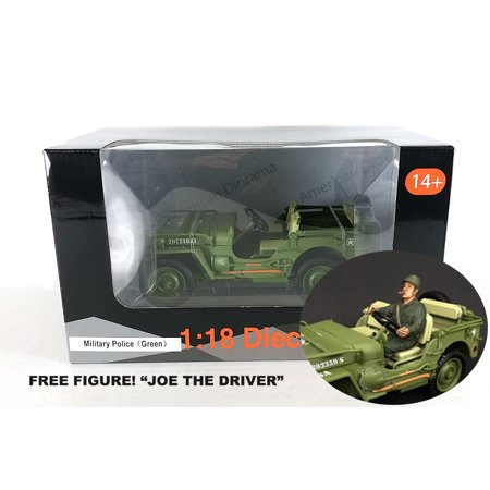 American Army Vehicles - USA Army Military Police Jeep 1/18 Scale. FREE FIGURE!