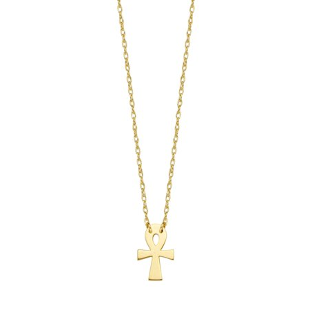 14k Yellow Gold Ankh Necklace Adjustable Length - So You