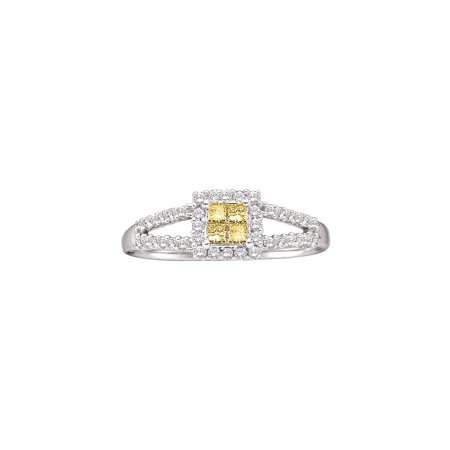 Size - 7 - Solid 14k White Gold Princess Cut Round Yellow And White Diamond Engagement Ring OR Fashion Band Invisible Set Square Shape Solitaire Shaped halo Ring (1/3 cttw)