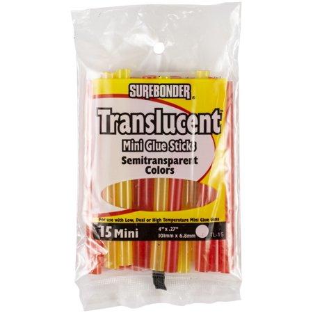 """Translucent Mini Glue Sticks-.27""""X4"""" 15/Pkg Assorted Colors - image 1 of 1"""