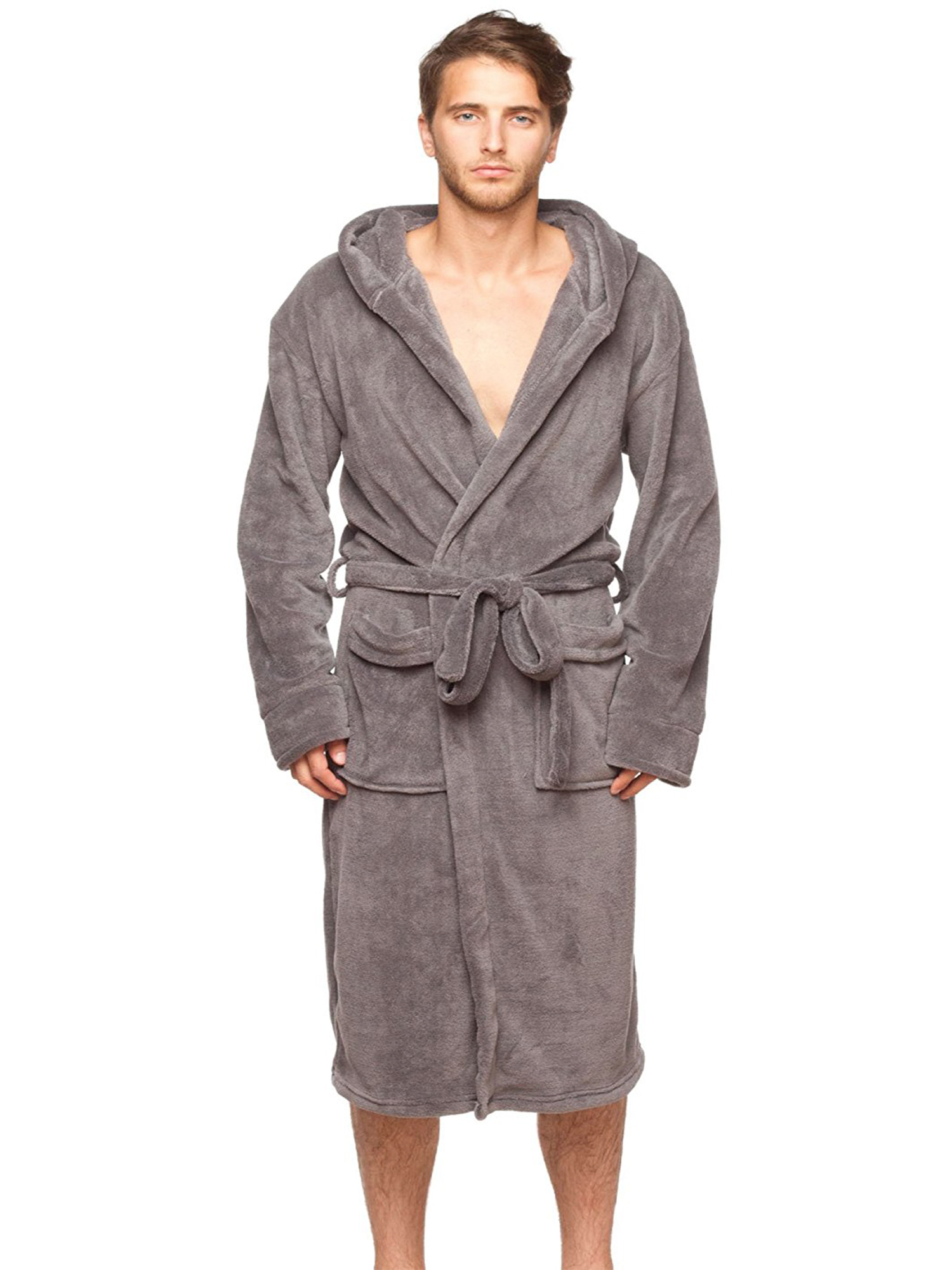 Robes Wanted Mens Lounge Bathrobe Plush Micro Fleece With Front Pockets Clothing Accessories