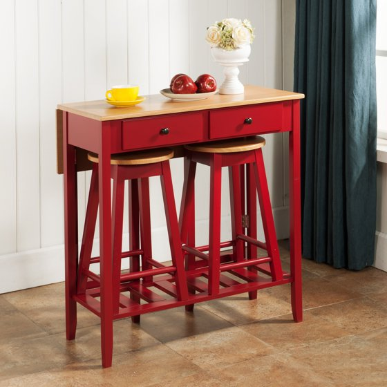 Table And Chairs Walmart: InRoom Designs 3 Piece Pub Table Set