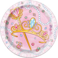 "(3 Pack) 7"" Jeweled Pink Princess Paper Dessert Plates, 8ct"