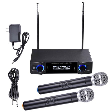 2 Channel UHF Handheld Wireless Microphone System LCD Display 1/4