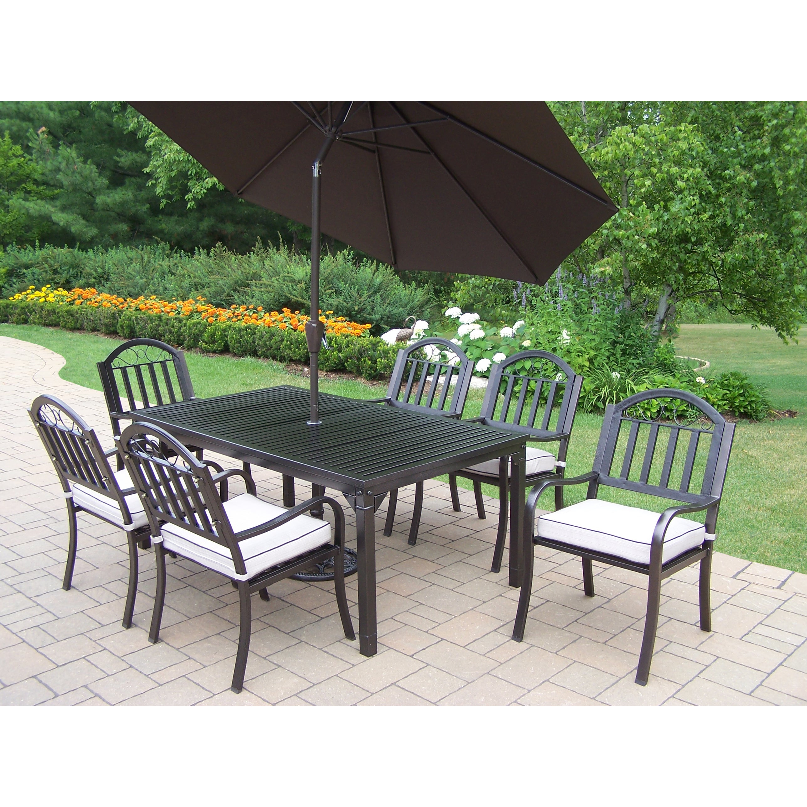 Oakland Living Corporation Hometown Brown Iron and Oatmeal Cushioned 9-piece Patio Dining Set