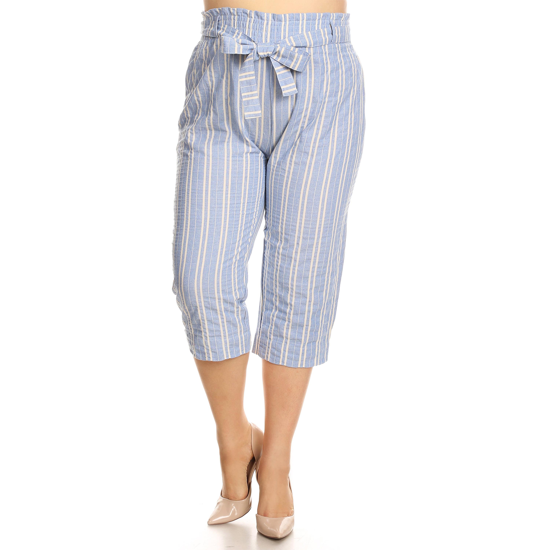 Xehar Women's Plus Size Casual Stripe PrintedCapri Pants