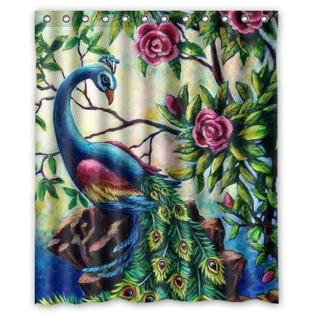 Beautiful Flower Peacock Painting Polyester Bathroom Shower Curtain 12 Hooks