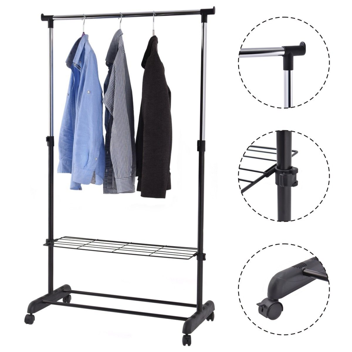 Costway Adjustable Rolling Garment Rack Heavy Duty Clothes Hanger w/ Shoe Rack Portable