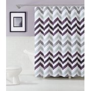 VCNY Chevron Design 100% Cotton Fabric Shower Curtain - Purple