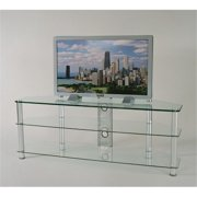 RTA Home and Office TVM-060 60 in. Tempered Glass and Aluminum TV Stand with Wire management