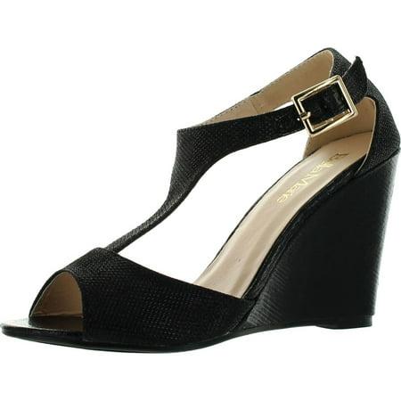 Soho-13 Womens Buckle T-Strap Shinny Glitters Peep Toe Wedge Sandal