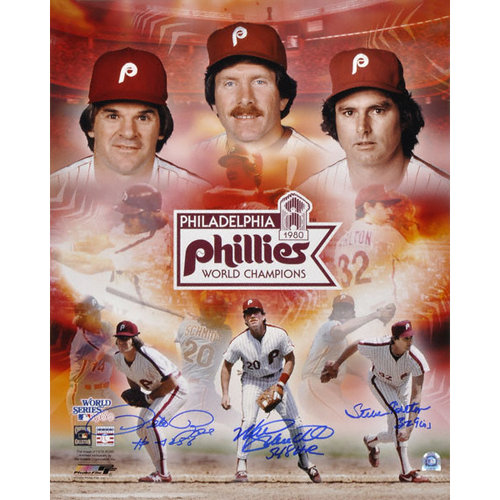 MLB - Philadelphia Phillies 1980 World Series Autographed 16x20 Collage signed by Pete Rose, Steve Carlton and Mike Schmidt